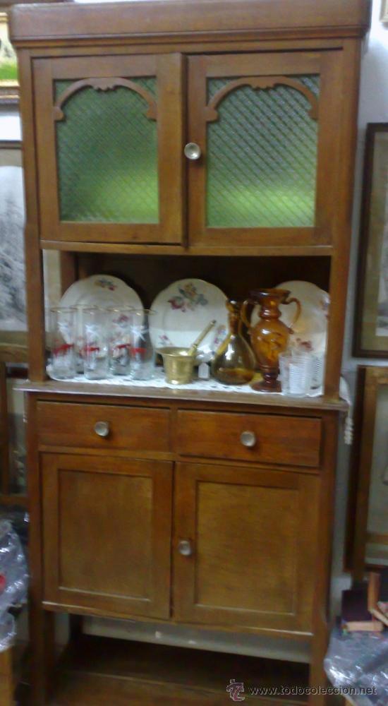 Antigua alacena o aparador de dos cuerpos en m comprar for Alacenas de madera