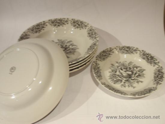 SEIS PLATOS SAN CLAUDIO SERIGRAFIADOS - ROSAS (Antigüedades - Porcelanas y Cerámicas - San Claudio)