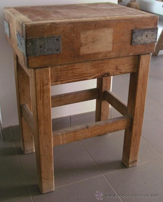 Antigua mesa de carnicero en dos piezas bloque comprar for Utensilios de hogar