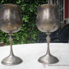 Antigüedades: PAREJA DE COPAS DE ALPACA, BAÑADAS EN PLATA CON EL SELLO AL-CO ESPAÑA.. Lote 101077516