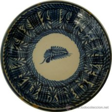 Antigüedades: TALAVERA - PLATO AZUL FIRMADO CON INICIALES - S. XIX. Lote 33085860