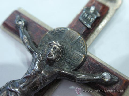 Antigüedades: CRUCIFIJO COLGANTE DE ROSARIO - Foto 2 - 33122075
