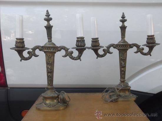 PAREJA CANDELABROS IMPERIO (Antigüedades - Iluminación - Candelabros Antiguos)