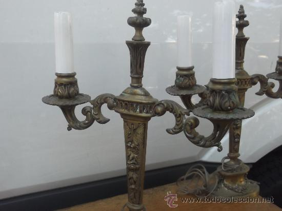 Antigüedades: pareja candelabros imperio - Foto 5 - 33128820