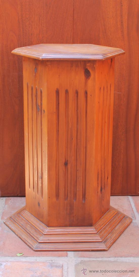 Pedestal hexagonal en madera de pino para decor comprar for Muebles auxiliares clasicos madera