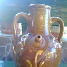 Antigüedades: ANTIGUO CANTARO O BOTIJO DE AGUA, VIDRIADO.MANUFACTURAS LA BISBAL. Lote 33146294