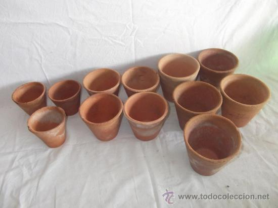 Lote de 12 antiguas macetas peque as de barro m comprar for Macetas ceramica online