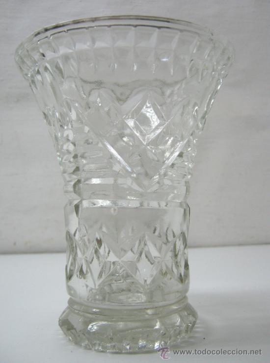Antigüedades: antiguo jarron cristal prensado boca grande - altura 16 cm. - - Foto 3 - 33213875