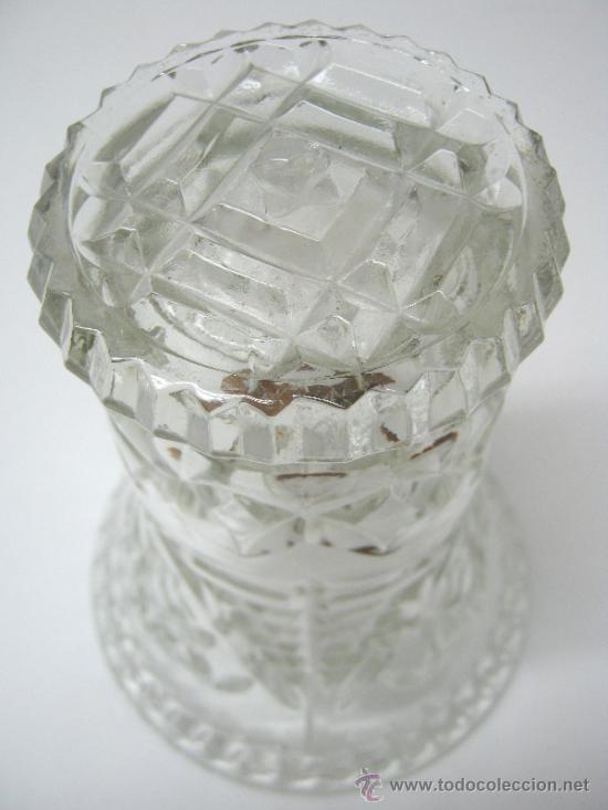 Antigüedades: antiguo jarron cristal prensado boca grande - altura 16 cm. - - Foto 2 - 33213875
