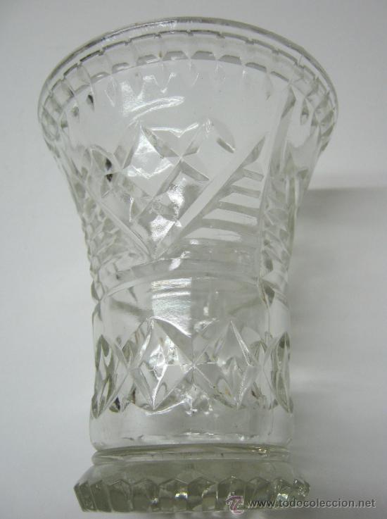 Antigüedades: antiguo jarron cristal prensado boca grande - altura 16 cm. - - Foto 5 - 33213875