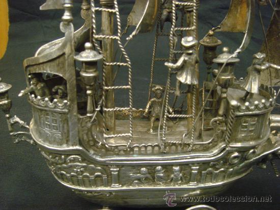 Antigüedades: EXTRAORDINARIO Y DELICADO TRABAJO DE ORFEBRERIA, CARABELA EN PLATA DE LEY - Foto 12 - 33224232