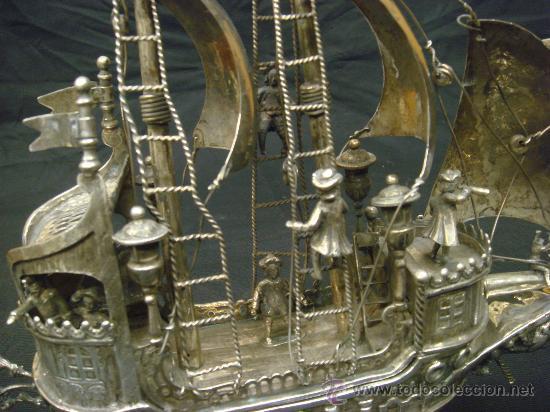 Antigüedades: EXTRAORDINARIO Y DELICADO TRABAJO DE ORFEBRERIA, CARABELA EN PLATA DE LEY - Foto 13 - 33224232