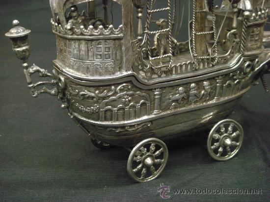 Antigüedades: EXTRAORDINARIO Y DELICADO TRABAJO DE ORFEBRERIA, CARABELA EN PLATA DE LEY - Foto 15 - 33224232