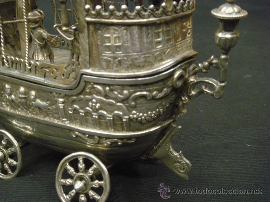 Antigüedades: EXTRAORDINARIO Y DELICADO TRABAJO DE ORFEBRERIA, CARABELA EN PLATA DE LEY - Foto 17 - 33224232
