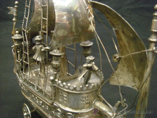 Antigüedades: EXTRAORDINARIO Y DELICADO TRABAJO DE ORFEBRERIA, CARABELA EN PLATA DE LEY - Foto 8 - 33224232