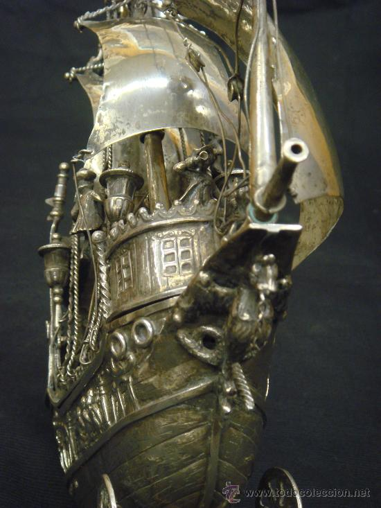 Antigüedades: EXTRAORDINARIO Y DELICADO TRABAJO DE ORFEBRERIA, CARABELA EN PLATA DE LEY - Foto 9 - 33224232