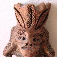 Antigüedades: FIGURA DE DEMONIO AZTECA.CERÁMICA AL HORNO DE SERRÍN. Lote 33243110