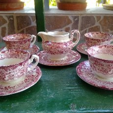 Antigüedades: ANTIGUO Y PRECIOSO JUEGO DE CAFE , 4 TAZAS, 4 PLATOS Y 1 LECHERA. Lote 143614181