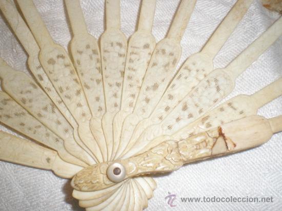 Antigüedades: ABANICO VARILLAJE DE HUESO - Foto 3 - 33290030