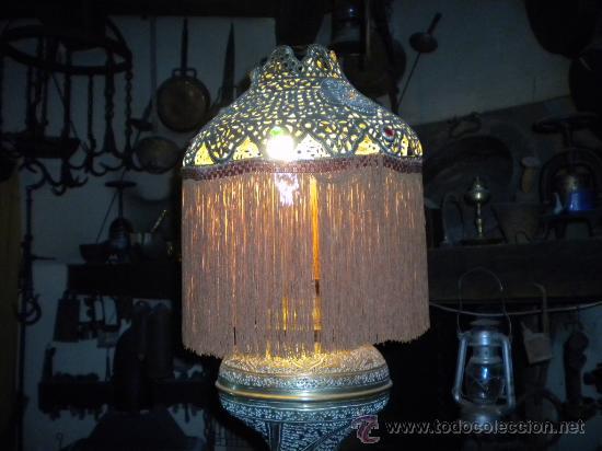 Antigüedades: LAMPARA MARROQUI, 200X45 CTMS. TODA CON INSCRIPCIONES ARABES Y ANIMALES,= PELICULA CASABLANCA - Foto 12 - 33296162