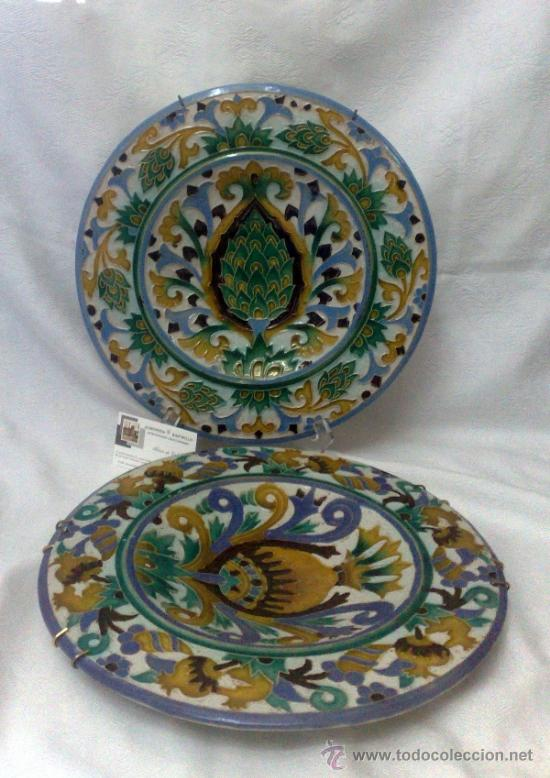 SEBASTIAN AGUADO.- TOLEDO,- PAREJA DE PLATOS. (Antigüedades - Porcelanas y Cerámicas - Talavera)