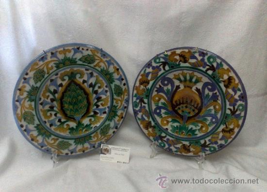 Antigüedades: SEBASTIAN AGUADO.- TOLEDO,- PAREJA DE PLATOS. - Foto 12 - 33352552