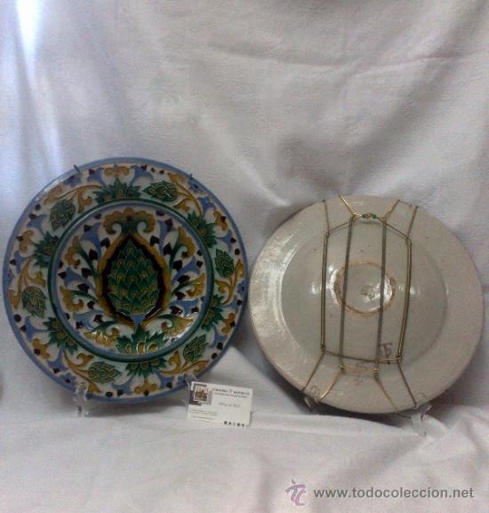 Antigüedades: SEBASTIAN AGUADO.- TOLEDO,- PAREJA DE PLATOS. - Foto 15 - 33352552
