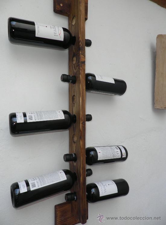 Botellero rustico artesanal 10 botellas hecho a comprar muebles auxiliares antiguos en - Botelleros de madera rusticos ...