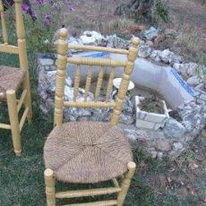 Antigüedades: ANTIGUA SILLA DE MADERA TORNEADA, ASIENTO ENEA . . Lote 33392226