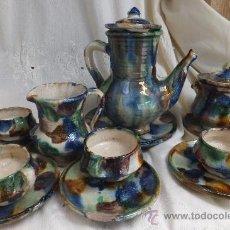Antigüedades: JUEGO CAFÉ NIJAR ( ALMERIA) CAFETERA LECHERA AZUCARERO PLATOS TAZAS.. Lote 33406630