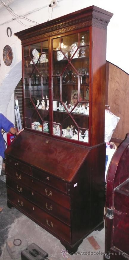 Antigüedades: Mueble canterano librería inglés en caoba, 1930's. 233 alto x 54 fondo x 120 ancho, - Foto 3 - 33414184