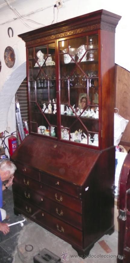 Antigüedades: Mueble canterano librería inglés en caoba, 1930's. 233 alto x 54 fondo x 120 ancho, - Foto 2 - 33414184