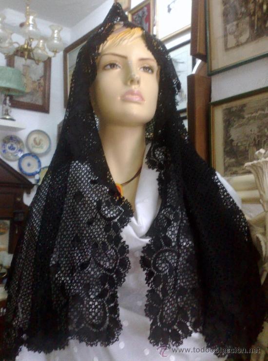 MANTILLA NEGRA, ANTIGUA (Antigüedades - Moda - Mantillas)