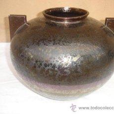 Antigüedades: MACETERO DE FORMA DE POTE GRANDE DE CERAMICA. Lote 33438508