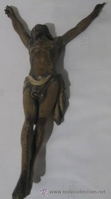 CRISTO MADERA 27 X 12 MEDIADOS SIGLO XX (Antigüedades - Religiosas - Crucifijos Antiguos)