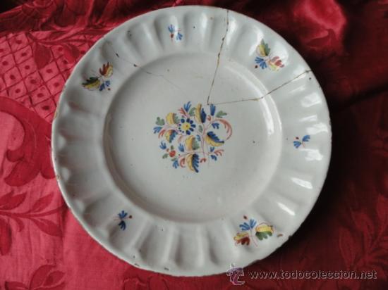 PRECIOSA Y ANTIGUA PLATA DE CERÁMICA DE ALCORA. (Antigüedades - Porcelanas y Cerámicas - Alcora)