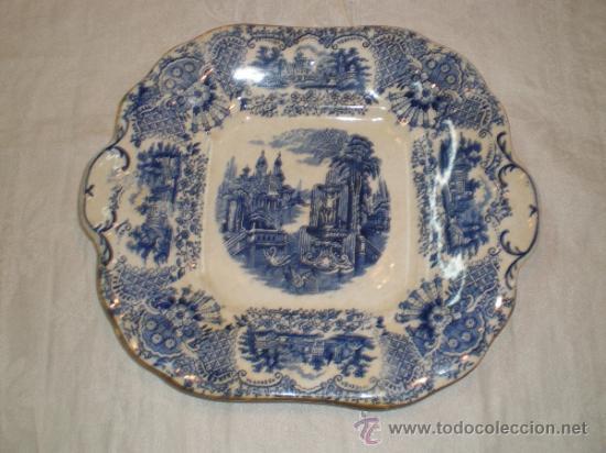 BANDEJA CUADRADA PICKMAN LA CARTUJA - VISTAS - (Antigüedades - Porcelanas y Cerámicas - La Cartuja Pickman)