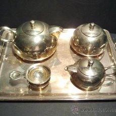 Antigüedades: JUEGO DE CAFÉ ART-DECO CON MARCAS DE ALPACA.. Lote 33504982
