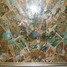 Antigüedades: CUADRO ENMARCADO CON POSTALES Y CROMOS ANTIGUOS. Lote 33529019