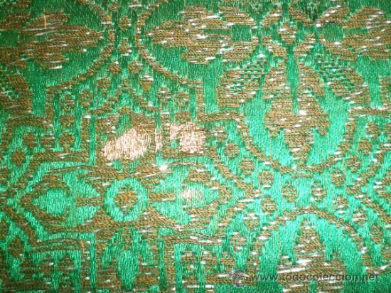 Antigüedades: centro de tela verde bordado en oro - Foto 6 - 33528983