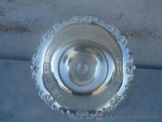 Antigüedades: centro de metal plateado forma de cesto - Foto 3 - 33550040