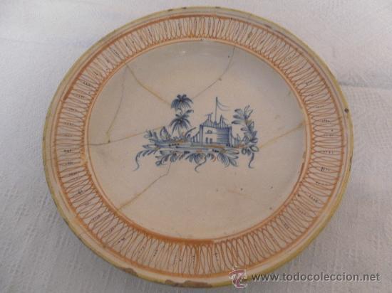 PLATO DE CERÁMICA DE MANISES Ó RIBESALBES. SIGLO XIX (Antigüedades - Porcelanas y Cerámicas - Manises)