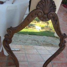 Antigüedades: PRECIOSO MARCO TALLADO EN MADERA NOBLE, CON ESPEJO 896X60 CMS. Lote 33556984