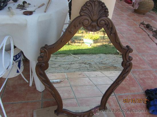 Antigüedades: precioso marco tallado en madera noble, con espejo 896x60 cms - Foto 4 - 33556984
