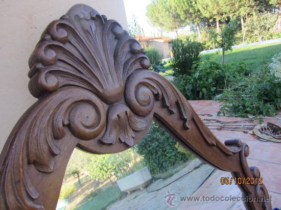 Antigüedades: precioso marco tallado en madera noble, con espejo 896x60 cms - Foto 5 - 33556984