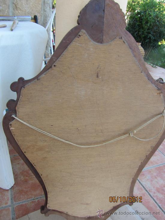 Antigüedades: precioso marco tallado en madera noble, con espejo 896x60 cms - Foto 6 - 33556984