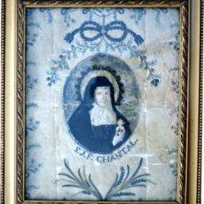 Antigüedades: SANTA JUANA FRANCISCA DE CHANTAL - BORDADO TIPO RELICARIO - PP. S. XIX - RARO. Lote 129041940
