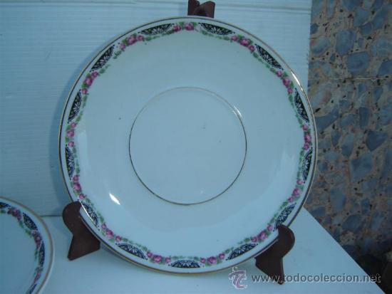 Antigüedades: 6 platos y 4 tazones de porcelana - Foto 3 - 33641607