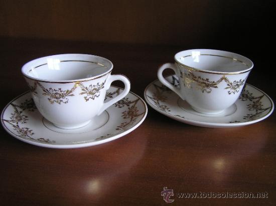 !!ANTIGUO JUEGO DE CAFÉ PARA ENAMORADOS !!, 2 PLATOS Y 2 TAZAS. (Antigüedades - Porcelanas y Cerámicas - Otras)
