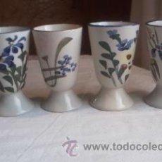 Antigüedades: LOTE DE 4 COPAS DE CERÁMICA PINTADAS A MANO MADE IN CHINA.. Lote 33660302